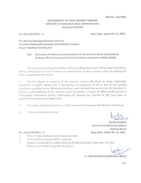 RBE No. 1152020 Retention of Railway accommodation at the previous place of posting by Railway officers staff posted to Chittaranjan Locomotive Works (CLW)
