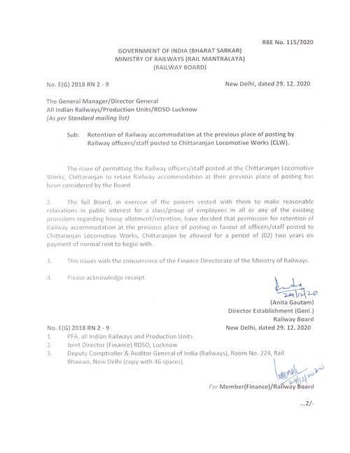 RBE No. 115/2020: Retention of Railway accommodation at the previous place of posting by Railway officers /staff posted to Chittaranjan Locomotive Works (CLW)