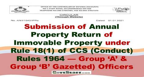 Annual Property Return of Immovable Property for Group 'A' and Group 'B' (Gazetted) Officers – CDA Circular dated 01.01.2021
