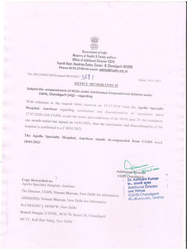 CGHS Chandigarh: Apollo Specialty Hospital, Amritsar stands de-empaneled w.e.f. 18-01-2021