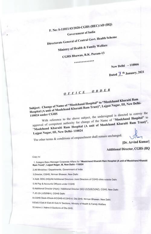 "CGHS Delhi: Change of name of Moolchand Hospital to ""Moolchand Kharaiti Ram Hospital reg."