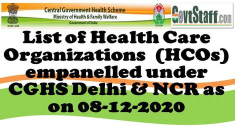 CGHS: List of Health Care Organizations empanelled under CGHS Delhi & NCR as on 08-12-2020