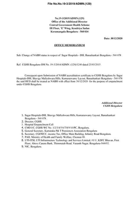 Change of NABH status in respect of Sagar Hospitals – DSI, Banashankari Bengaluru