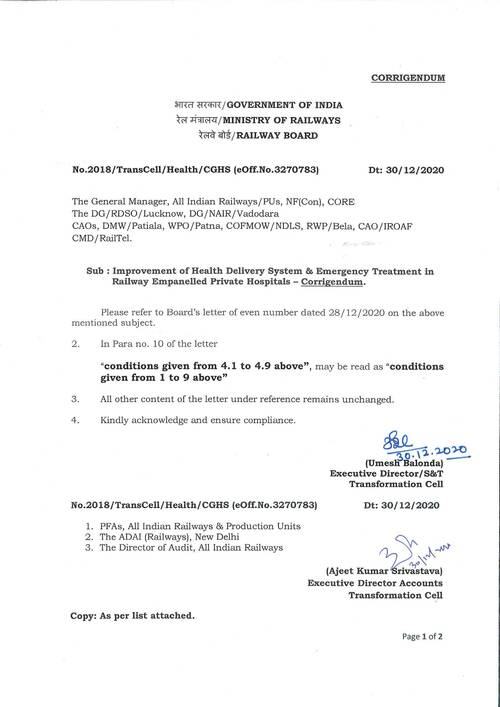 Corridendum: Improvement of Health Delivery System & Emergency Treatment in Railway Empanelled Private Hospitals