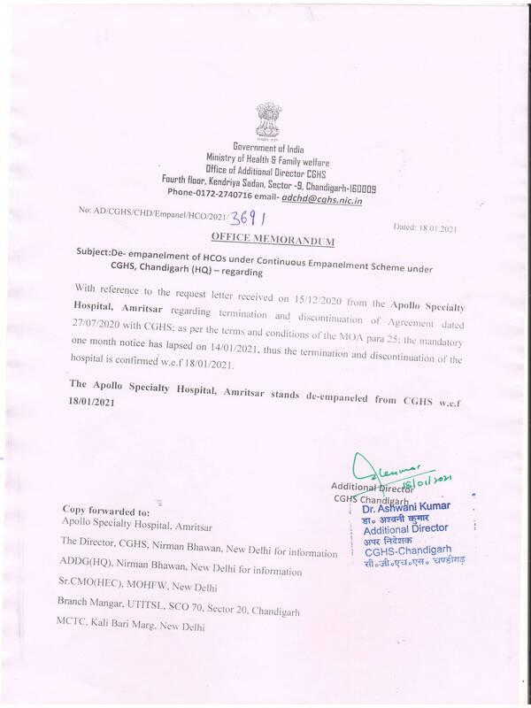De-empanelment of Apollo Specialty Hospital, Amritsar from CGHS w.e.f. 18.01.2021