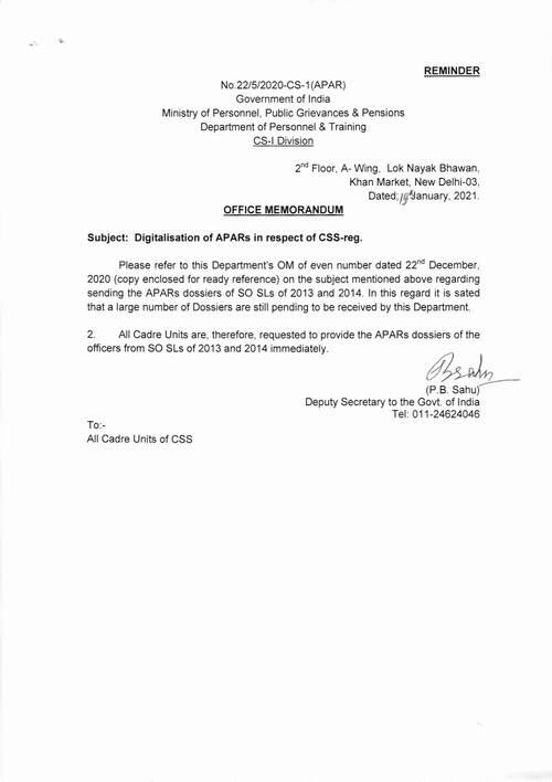 Digitalisation of APARs in respect of CSS – issue of reminder regarding