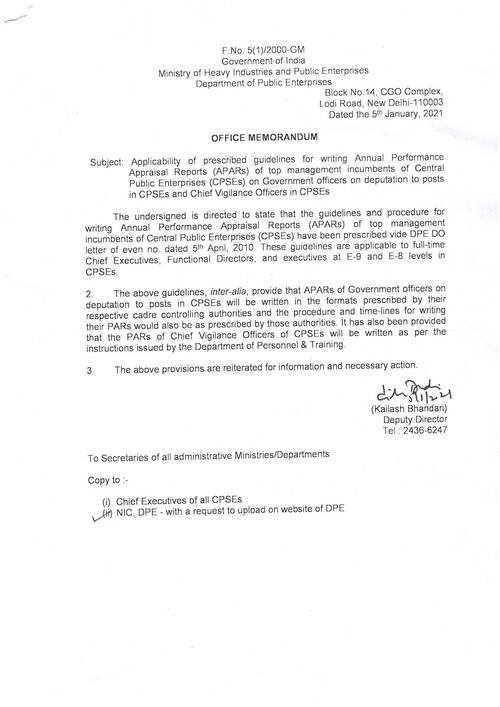 DPE OM: Applicability of prescribed guidelines for writing Annual Performance Appraisal Reports (APARs) of top management reg.