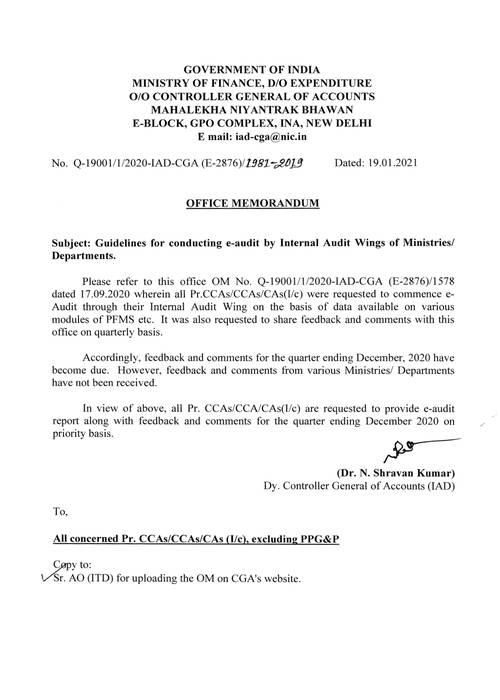 e-Audit by Internal Audit Wings of Ministries/ Departments – CGA seeks report on priority basis