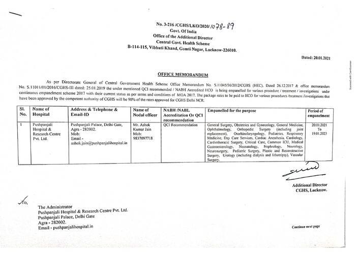 Empanelment of Pushpanjali Hospital & Research Centre Pvt. Ltd., Agra under CGHS