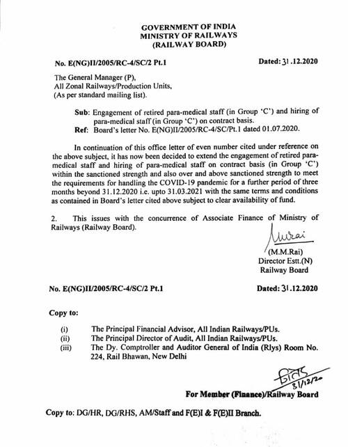 Engagement of retired para-medical staff (in Group 'C') and hiring of para-medical staff (in Group 'C') on contract basis: Railway Board