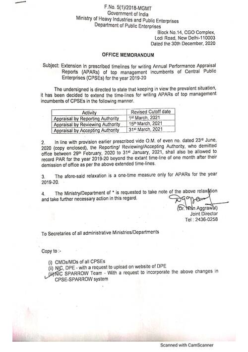 APARs 2019-20: Extension in prescribed timelines for writing APARs of top management incumbents of Central Public Enterprises (CPSEs)