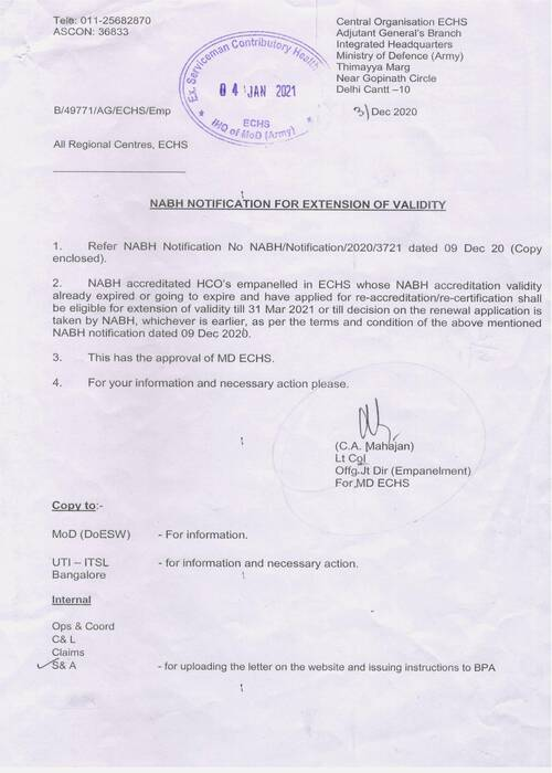 Extension of validity of NABH accreditated HCO's empanelled in ECHS till 31st March 2021