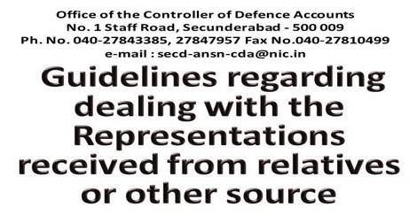 Guidelines regarding dealing with the Representations received from relatives or other source