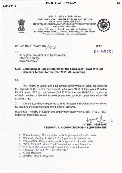Interest at 8.5% for the Employees' Provident Fund Members Account for the year 2019-20 : EPFO Order dated 04-JAN-2021