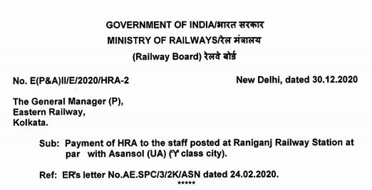 Payment of HRA to the staff posted at Raniganj Railway Station at par with Asansol (UA) ('Y' class city): Railway Board order dated 30.12.2020