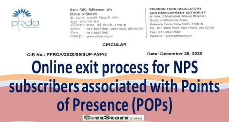 Online exit process for NPS Subscribers associated with Points of Presence (POPs) – PFRDA Circular dated 28th DEC 2020