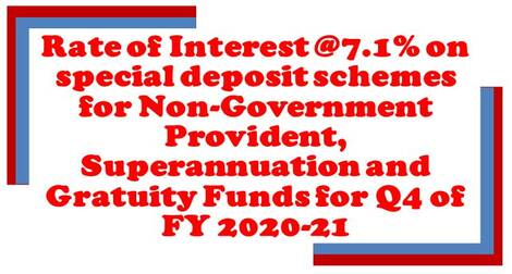 Rate of Interest @7.01% on Special Deposit Schemes for Q4 of FY 2020-21