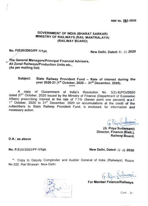 RBE No. 110/2020: State Railway Provident Fund – Rate of interest during the year 2020-21 (1st October, 2020 – 31st December, 2020)