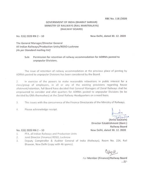 RBE No. 118/2020: Permission for retention of railway accommodation for ADRMs posted to unpopular Divisions