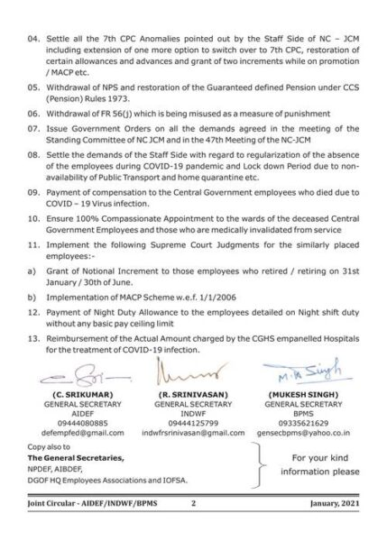 release three installment of da dr settlement of 7th cpc anomaly withdraw fr 56j withdraw nps etc joint circular by aidef indwf bpms to observe call attention day on 01 02 2021 1