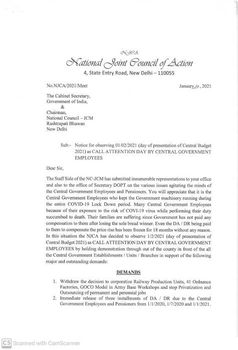 Release three installments of DA / DR due to the Central Government Employees – Notice for observing CALL ATTEENTION DAY ON 01.02.2021