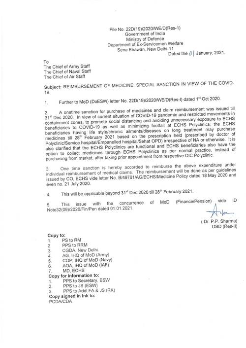 Special Sanction for Reimbursement of Medicines in view of COVID-19 | ECHS Order dated 01/01/2021