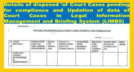Updation of data of Court Cases in Legal Information Management and Briefing System (LIMBS) reg – Railway Board order dt 6.1.2021