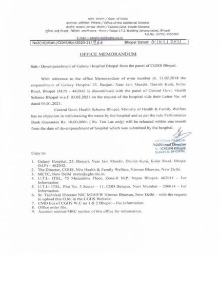 De-empanelment of Galaxy Hospital Bhopal from the panel of CGHS Bhopal CGHS OM dated 01-02-2021