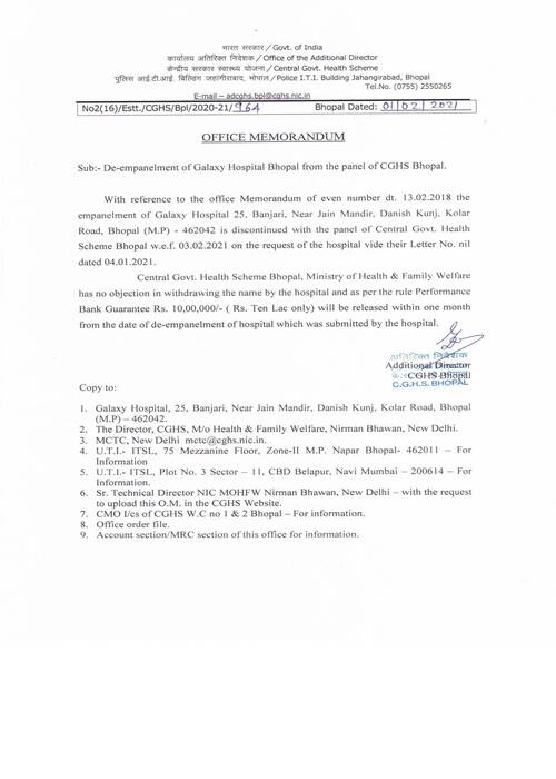 De-empanelment of Galaxy Hospital Bhopal from the panel of CGHS Bhopal : CGHS OM dated 01-02-2021
