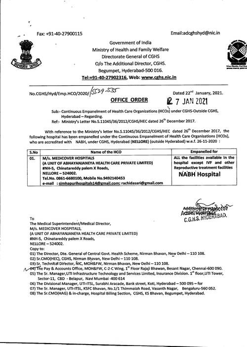 Continuous Empanelment of M/s MEDICOVER HOSPITALS, Nellore under CGHS Hyderabad – CGHS Office Order dated 27-01-2021