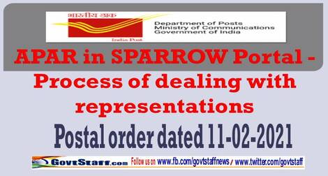 APAR in SPARROW Portal – Process of dealing with representations – Postal order dated 11-02-2021