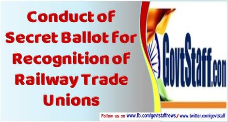 Conduct of Secret Ballot For Recognition of Railway Trade Unions – RajyaSabha Q&A