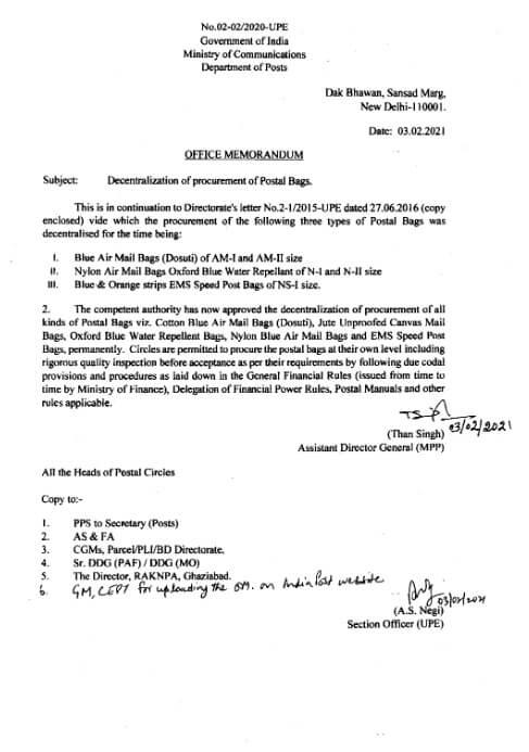 Decentralization of procurement of Postal Bags – Dept. of Post O.M dated 03-02-2021