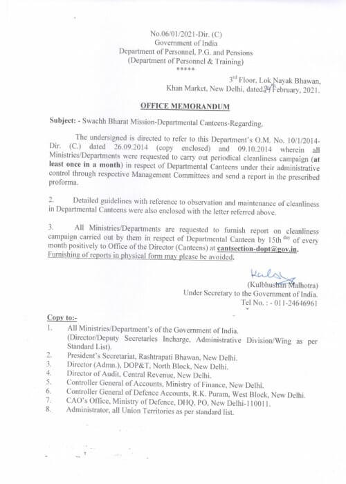 Periodical Cleanliness Campaign in Departmental Canteens – DOPT O.M dated 24-02-2021