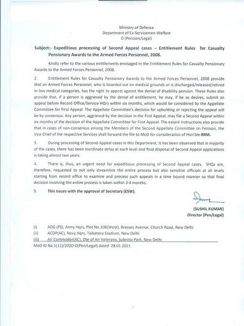 Entitlement Rules for Casualty Pensionary Awards to the Armed Forces Personnel, 2008 – Expeditious processing of Second Appeal cases
