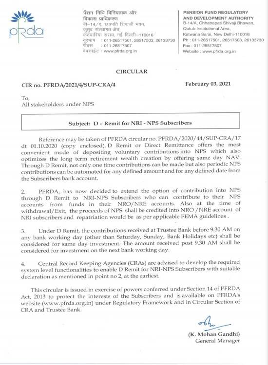 Extension of Option of Contribution into NPS through D-Remit to NRI-NPS Subscribers reg. – PFRDA Circular dated 03.02.2021