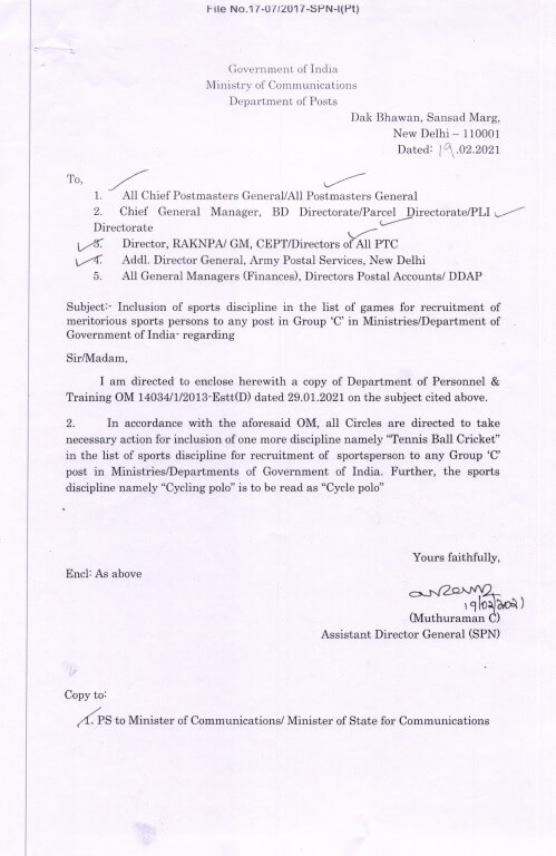 Inclusion of Sports discipline in the list of games for recruitment of meritorious sports persons – Department of Posts