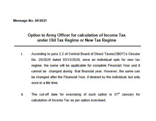 Option for calculation of Income Tax under Old Tax Regime or New Tax Regime : PCDA Message No. 04/2021