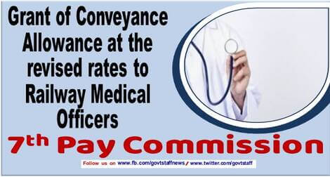 7th Pay Commission – Grant of Conveyance Allowance at the revised rates to Railway Medical Officers : RBE No. 12/2021