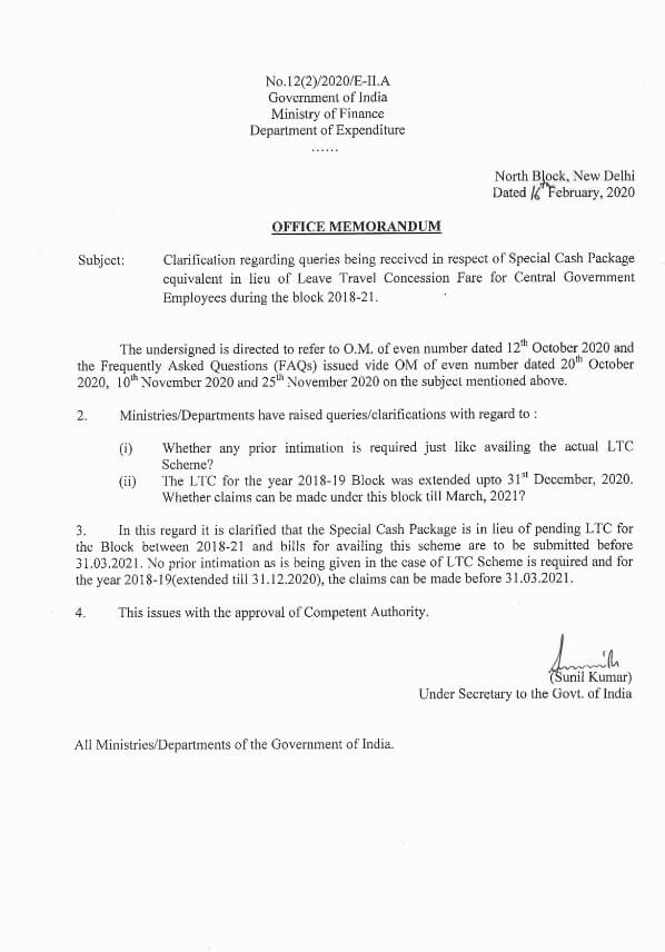 Special Cash Package equivalent in lieu of Leave Travel Concession Fare – Finmin clarification