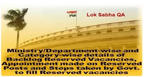 Backlog Reserved Vacancies for SCs, STs and OBCs – Loksabha Q & A