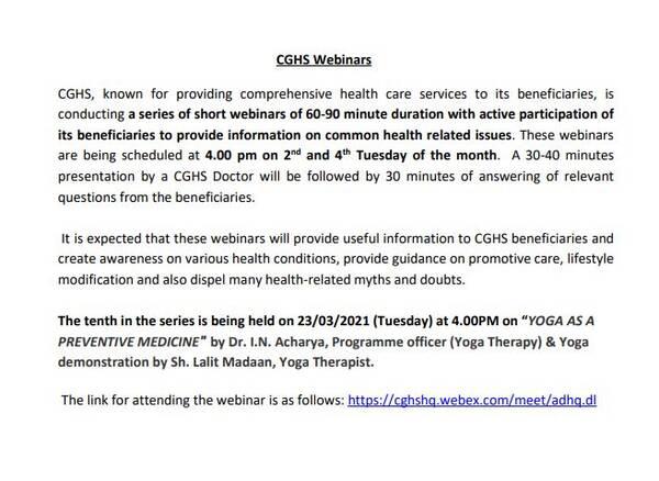 """CGHS Webinar on """"YOGA AS A PREVENTIVE MEDICINE"""" by Dr. I.N.Acharya"""
