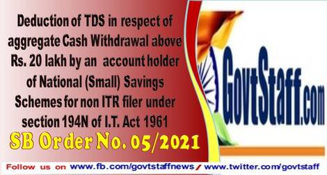 Deduction of TDS in respect of aggregate Cash Withdrawal above Rs. 20 lakh by an account holder of National (Small) Savings Schemes for non ITR filer under section 194N of I.T. Act 1961 – SB Order No. 05/2021