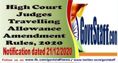 High Court Judges Travelling Allowance Amendment Rules, 2020