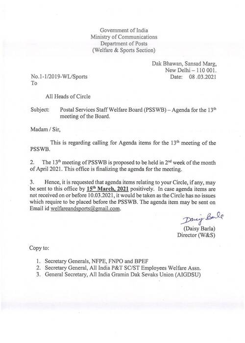Postal Services Staff Welfare Board (PSSWB) -Agenda for the 13th meeting of the Board