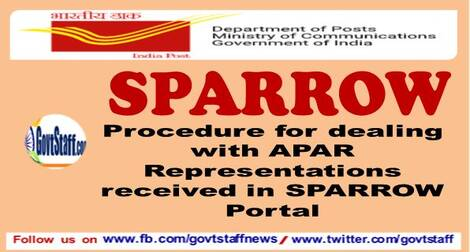 Procedure for dealing with APAR Representations received in SPARROW Portal – Deptt. of Posts order dated 25.03.2021