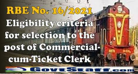RBE No. 16/2021 – Eligibility criteria for selection to the post of Commercial-cum-Ticket Clerk