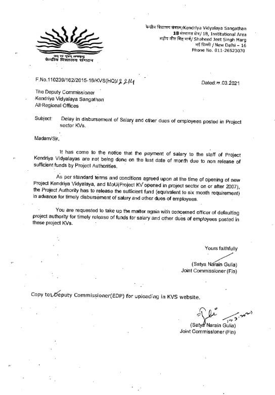 Timely release of funds for salary and other dues of employees posted in these project KVs