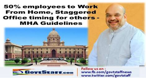 50% employees to Work From Home, Staggered Office timing for others – MHA Guidelines