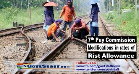 7th Pay Commission Modifications in the rates of Risk Allowance: Railway Board Order RBE No.30/2021 with List of categories/staff eligible
